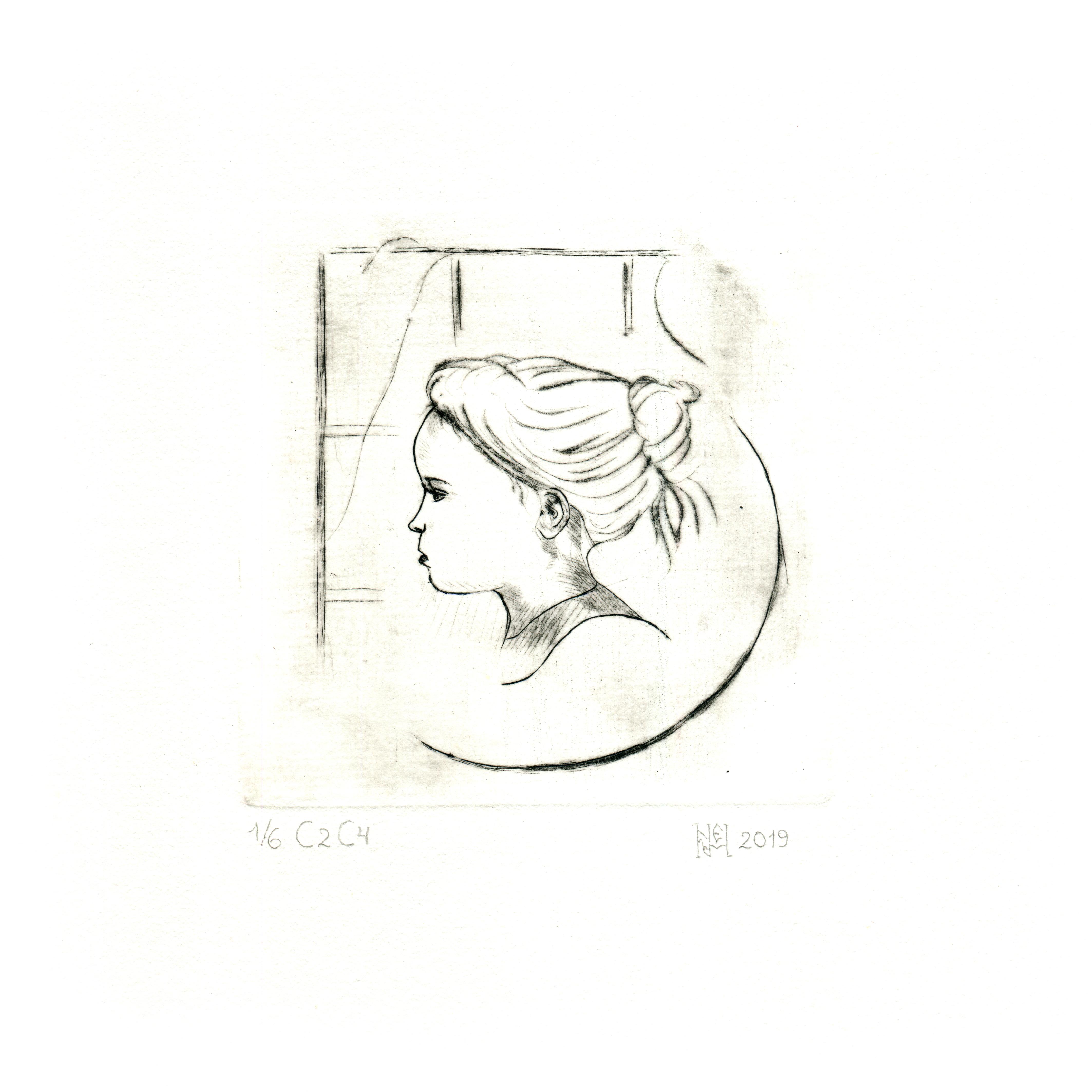 Гравюра детский портрет